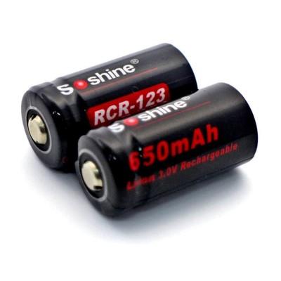 Аккумуляторная батарейка Li-Ion Soshine 3V CR123A / 16340 (650mAh, 1.95Wh) (03109)