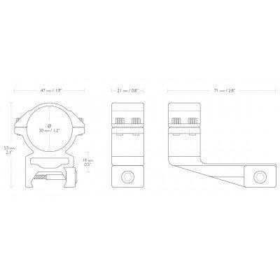 Кольца Hawke 30 мм высокие с выносом 71 мм на планку Weaver (22127) (03230)