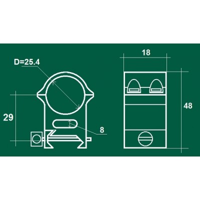 Кольца ЭСТ W 25,4x29 средние на Weaver (сталь) (02996)