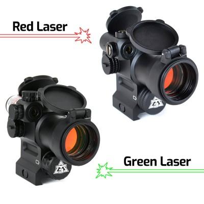 Коллиматорный прицел AT3 LEOS Red Dot Sight with Integrated Laser Sight & Riser с точкой 2 МОА встроенным лазером и повышающим кронштейном на Weaver (06533)