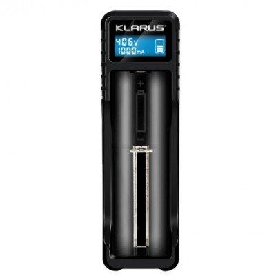 Портативное зарядное устройство Klarus K1X (1 канал) с дисплеем для аккумуляторов разных типов + power bank0.5A 1A (KLR-K1X-BK) (05841)