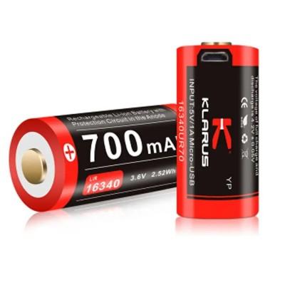 Акумуляторна батарея LiR 16340 Klarus 16GT-70UR для тактичного ліхтаря XT1C 700mAh 3.7V (16GT-70UR) зарядка через micro-USB (05845)