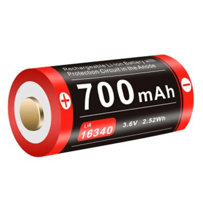 Аккумуляторная батарея LiR 16340 Klarus 16GT-70UR для тактического фонаря XT1C 700mAh 3.7V (16GT-70UR) зарядка через micro-USB (05845)
